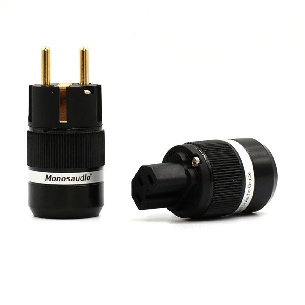 Одна пара E100 + F100 аудио 99.999% Чистая медь 4U 24K позолоченный Schuko разъем питания + IEC гнездовые разъемы