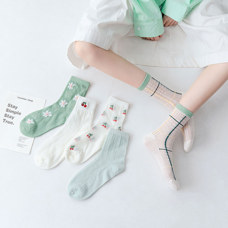 Белые женские носки, сетчатые дышащие весенне-летние хлопковые носки, тонкие короткие носки для весны и осени