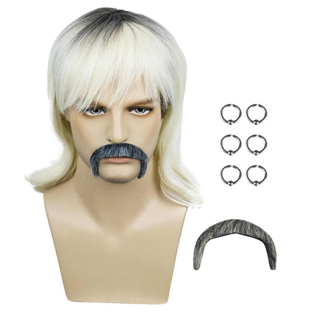 In the stock Tiger King Joe Exotic Cosplay Wig Earring Beard Costume Accessories Dress Up Prop Kits Set Halloween hair Xmas gift