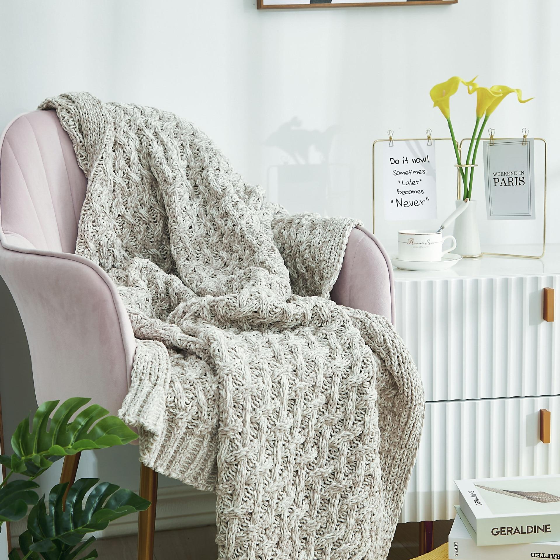 النمط الأوروبي دثار محبوك تكييف الهواء دثار محبوك بطانية للكبار الشتاء الدافئة أريكة سرير يلقي المنزل البطانيات