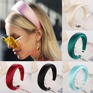 Solid satin Padded Headband Women Fashion Handmade Thicken Velvet Bezel Hair Accessories Headwear Wide Solid Plastic Hair Hoop