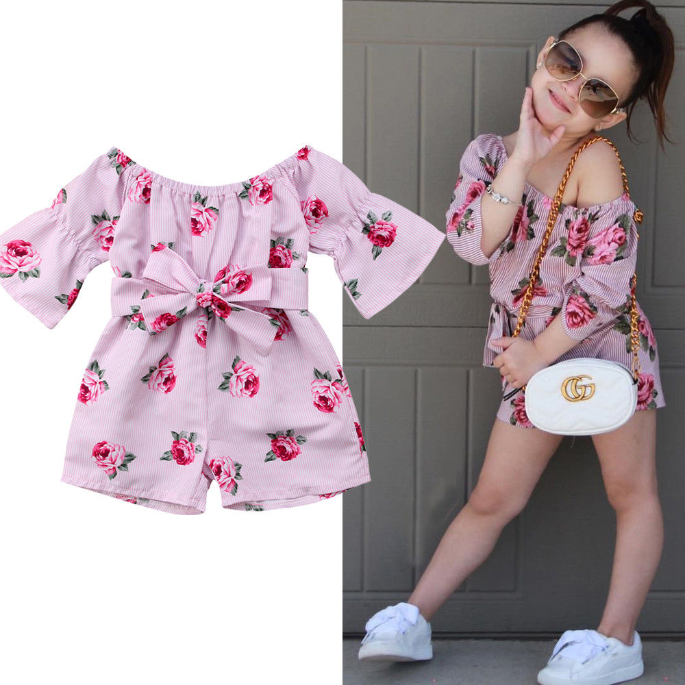 2019 Brand New Princess Baby Girl Floral Romper Off shoulder Flare Sleeve Bow Striped Jumpsuit Plays