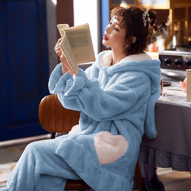 Pijamas de otoño invierno 2020 para mujer, Conjunto de pijama femenino de franela gruesa, Conjunto de pijama de manga larga de dibujos animados, pantalones enteros, ropa de dormir
