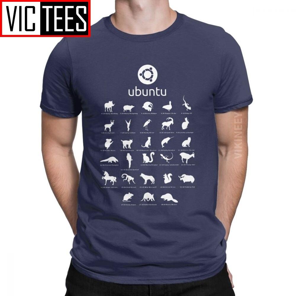 Funny Ubuntu Linux Releases Tshirt for Men Crew Neck Cotton T Shirt Distro Linux Debian 3D Print Clothes