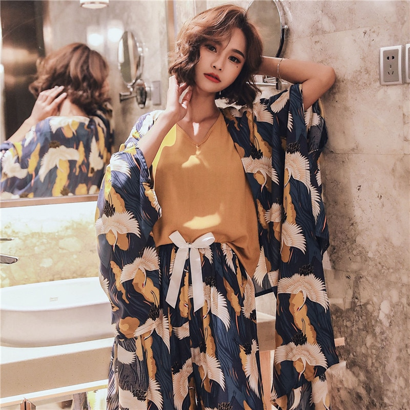JULY'S SONG 4 Pieces  Soft Autumn Summer Women Pajamas Sets  Floral Printed Sleepwear With Shorts Female Leisure Nightwear Suit