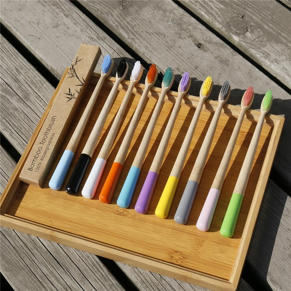 Новая Радужная цветная зубная щетка из бамбукового волокна с деревянной ручкой