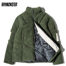 RHYMONSTER Sleeve Pocket Thick Lamb Cashmere Padded Parkas High Street Mens Winter Stand-Collar Jack