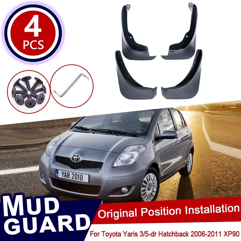 for Toyota Yaris Vitz 2006~2011 XP90 90 Mud Flaps Splash Guards Mudguards Carbon Fiber effect Mudflaps Car Accessories 2009 2010