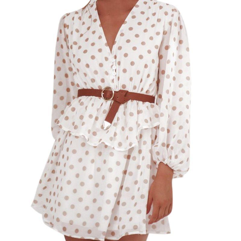 Vestido feminino polka dot ver através de chiffon vestidos vintage manga longa bege praia festa de verão