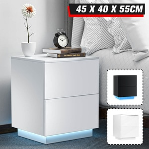 LED RGB Coffee Tables Tea Table Nightstand With Drawer Living Room Furniture Modern Bedside Table File Cabinet Storage Organizer