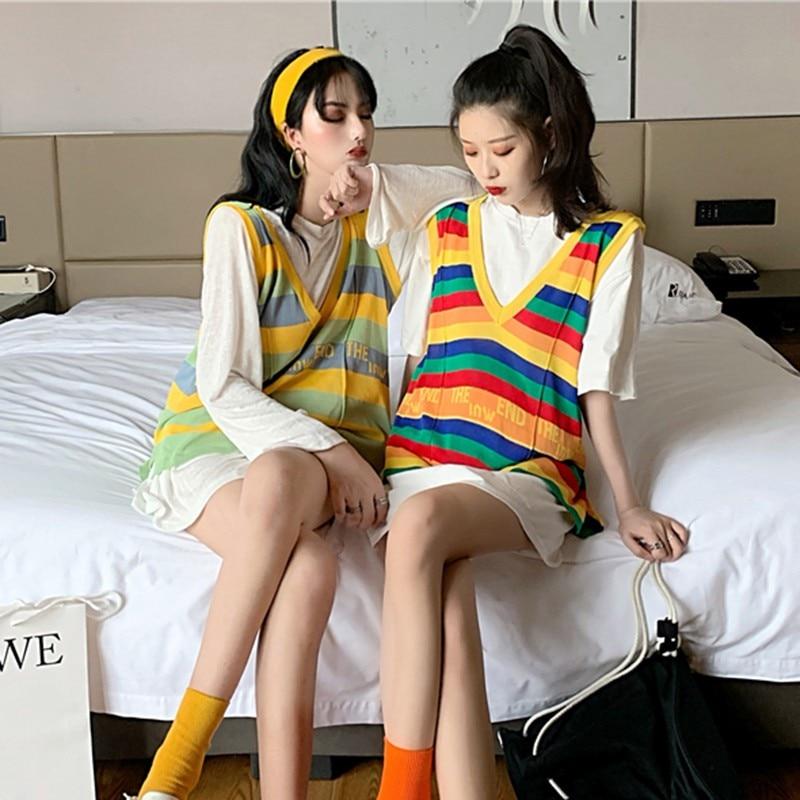 New Autumn Korean Vest Women Harajuku Casual Tank Tops Wool Sleeveless V-Neck Knitted Vest Female Oversize Pullover 2019