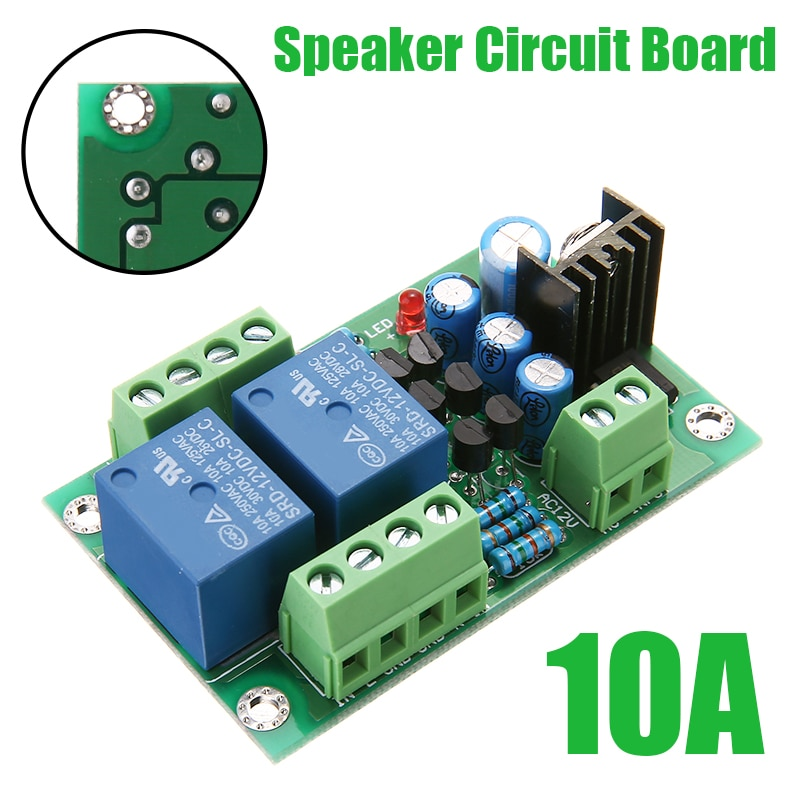 1PC High Quakity Stereo Loud Speaker Protection Board 10A Dual Channel 3S Delay Soft Start Circuit With LED Instructions Lights