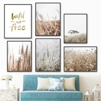 reed wheat grass flower quotes plant wall art canvas painting nordic posters and prints wall pictures for living room home decor
