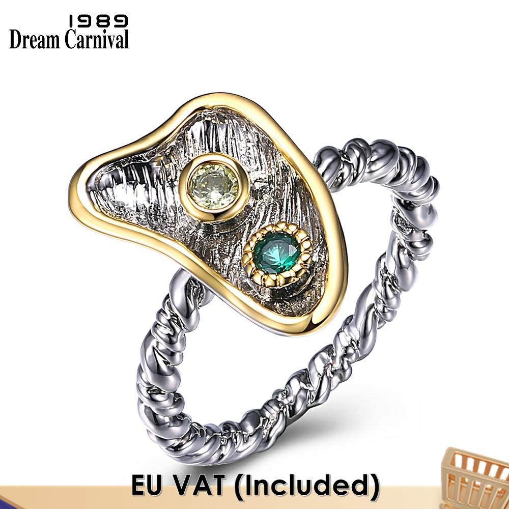 Dreamgerman-خاتم زركونيا أخضر جميل للغاية للنساء ، مجوهرات أنثوية WA11606