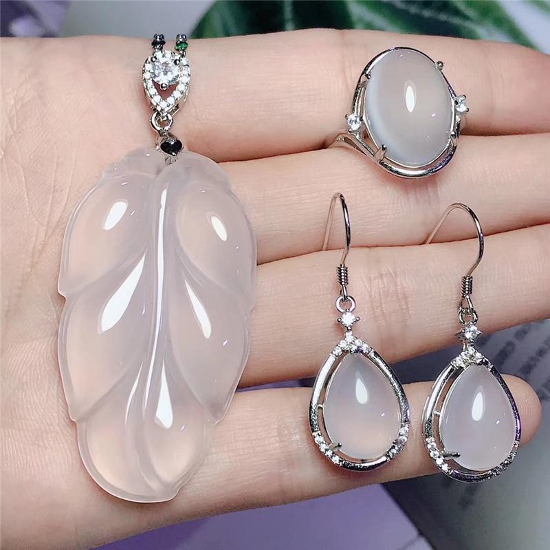 Jadery Charms hoja blanca Natural Calcedonia Jade juegos de joyas para mujer 925 collar de plata esterlina/pendientes/anillo 2019 regalos