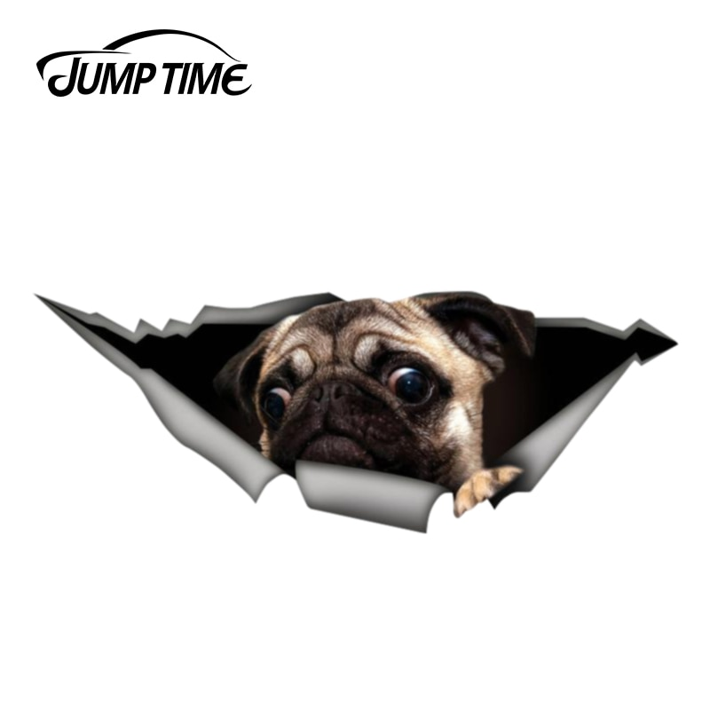 Jump Time 13cm x 4.8cm Funny car decal pug pet decal 3D Pet Graphic Vinyl Decal Car Window Laptop Bumper Animal Car Stickers