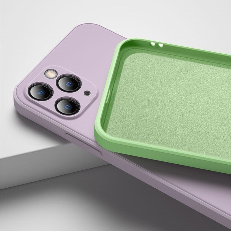 Funda de silicona líquida para iPhone 12 Mini 11 Pro Max SE 2020 funda parachoques de teléfono cuadrado para iPhone X XS MAX XR 7 8 6 6S Plus Funda