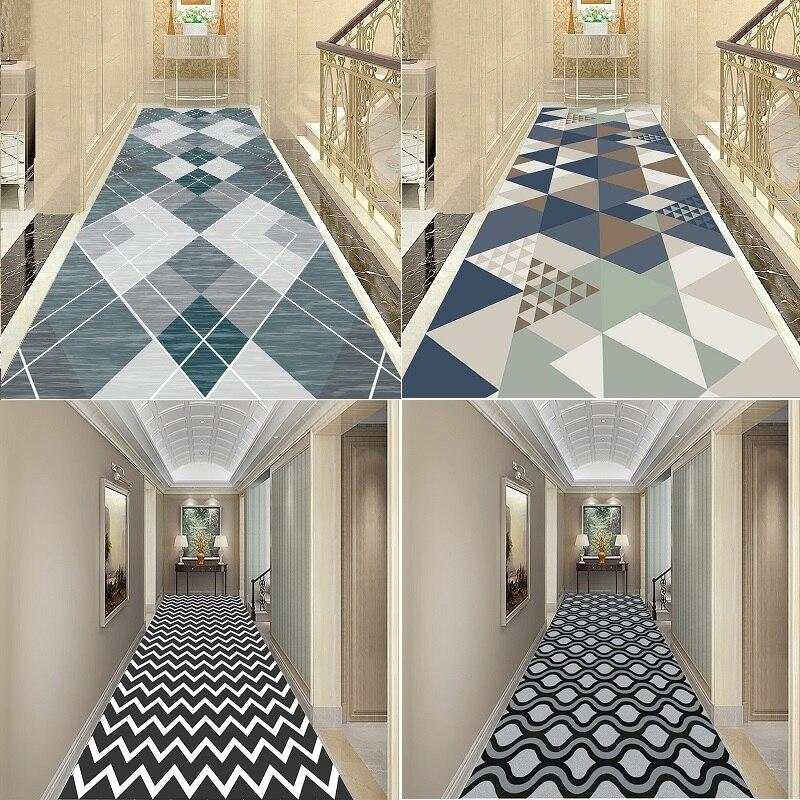Design geométrico tapete longo preto e branco onda tapete para escada corredor tapetes casa hotel corredores tapetes festa