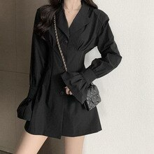 2021 Women's Autumn New Dress Casual Simple Fashion Commuter Style Solid Color Lapel Waist Slimming
