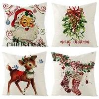 linen christmas pillow cover christmas decorations for home new year 2022 home decorations christmas gift natale navidad 2021