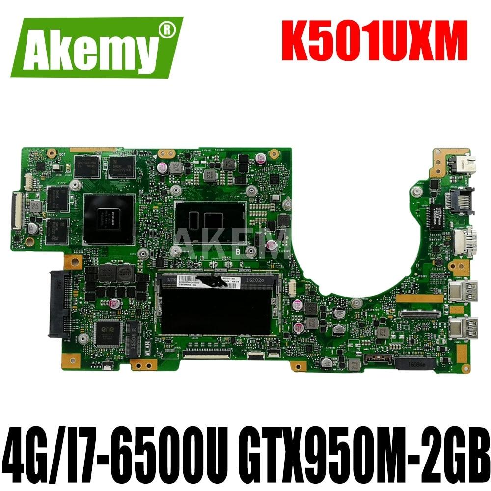 Akemy جديد! K501UXM اللوحة لابتوب For For For For Asus K501UW K501UXM K501UQ اللوحة الأصلية DDR4 4G-RAM I7-6500U GTX950M-2GB