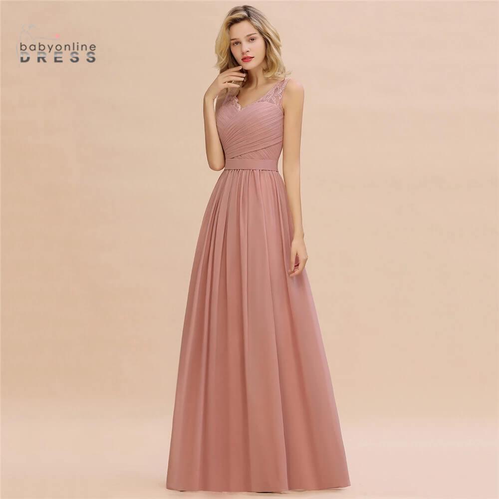 Babyonlinedress 50 Colors Lace Chiffon Bridesmaid Dresses V Neck Tank Sleeves Wedding Party Dress robe de soirée de mariage недорого