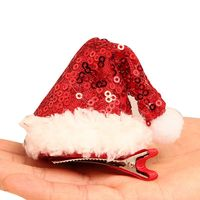 1 Pcs Christmas Hat Hair Clip Cute Red Santa Hat Hair Barrettes Grips Accessories For Toddlers Kids Girls Festive Decoration