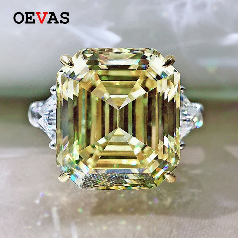 OEVAS 100% 925 فضة تألق 14*16 مللي متر عالية الكربون الماس توباز خواتم الزفاف للنساء حفلة غرامة مجوهرات بالجملة