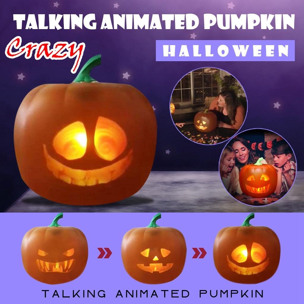 Louco falando halloween falando abóbora animada com projetor embutido e alto-falante 3-em-1