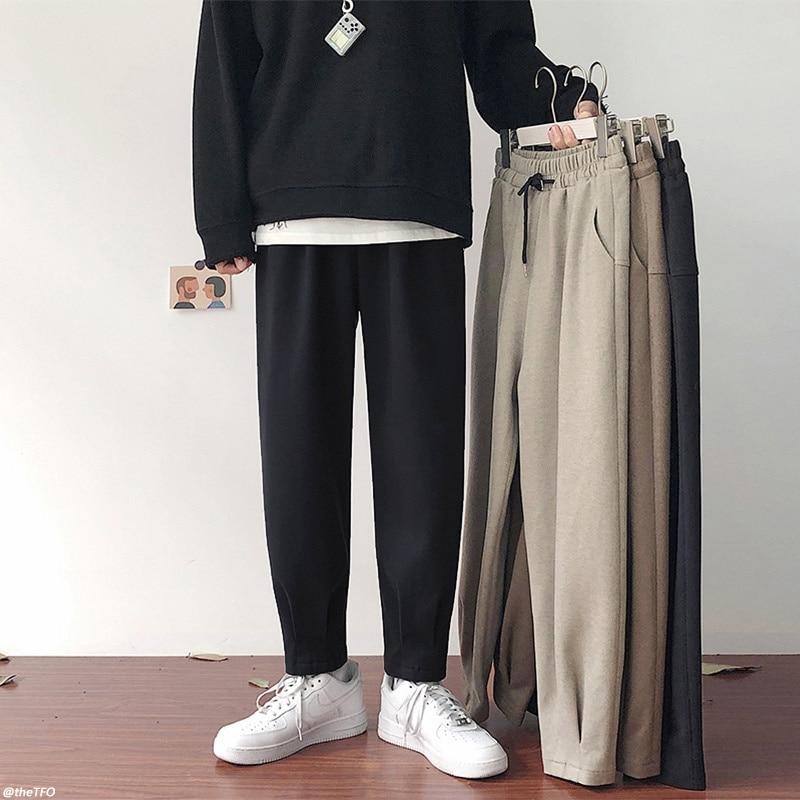 Зимние мужские брюки, мужские Модные Цветные однотонные брюки, повседневные мужские уличные брюки
