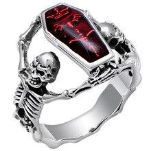 빈티지 타이어 뱀파이어 박쥐 해골 반지 남자 고딕 펑크 해골 관 반지를 들고 여성 힙합 쥬얼리 드롭 배송