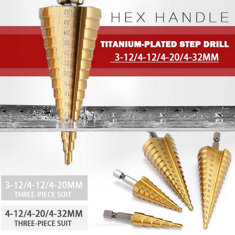 3 uds HSS Steel broca de titanio de paso Set 4-12/20/32mm Metal agujero cortador madera cono Core agujero de perforación herramienta de sierra con bolsa de almacenamiento
