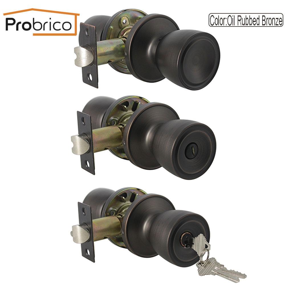 Probrico Rotation door handles for Interior doors front back wooden gate knob set Bedroom bathroom locks Household Accessories