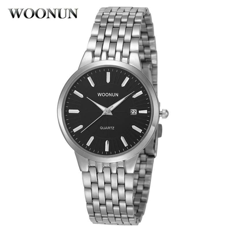 Relojes de lujo clásicos de Hodinky WOONUN para hombres, relojes de cuarzo de acero plateado a prueba de golpes, relojes de pulsera Ultra finos