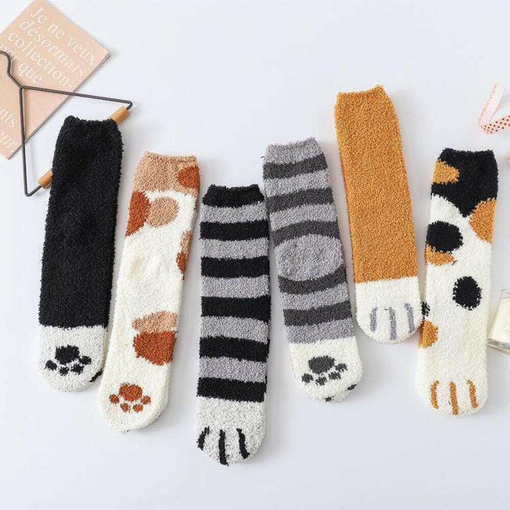 Пушистые теплые тапочки, женские носки, милые толстые зимние теплые носки с кошачьими лапами для сна, мягкие носки без тапочек