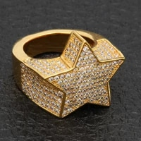 hip hop full cz cubic zircon charm iced out bling tready star copper zircon ring for men women jewelry