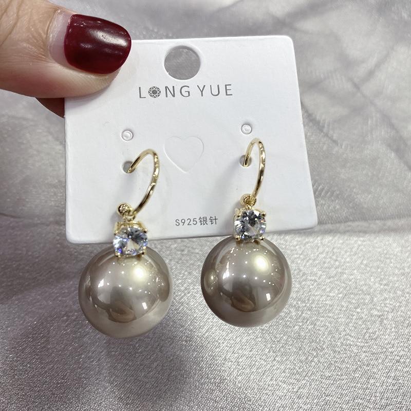 Pendientes de perlas grandes de lujo, pendientes s925 de aguja, joyería de moda, pendientes dorados, regalos para mujer