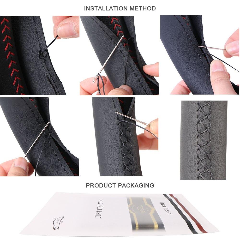 15 inch/38 cm PU Leather Car Steering Wheel Cover Anti-slip O SHI CAR Steering-Wheel Braid Stitch On Wrap With Needle Thread