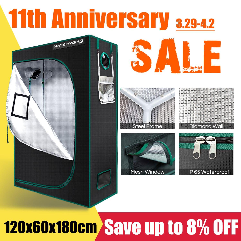 1680D Mars Hydro 120*60*180cm 120*50*190cm Indoor Grow Tent Hydroponic Plant Growing Non Toxic Room Box 100% reflective mylar