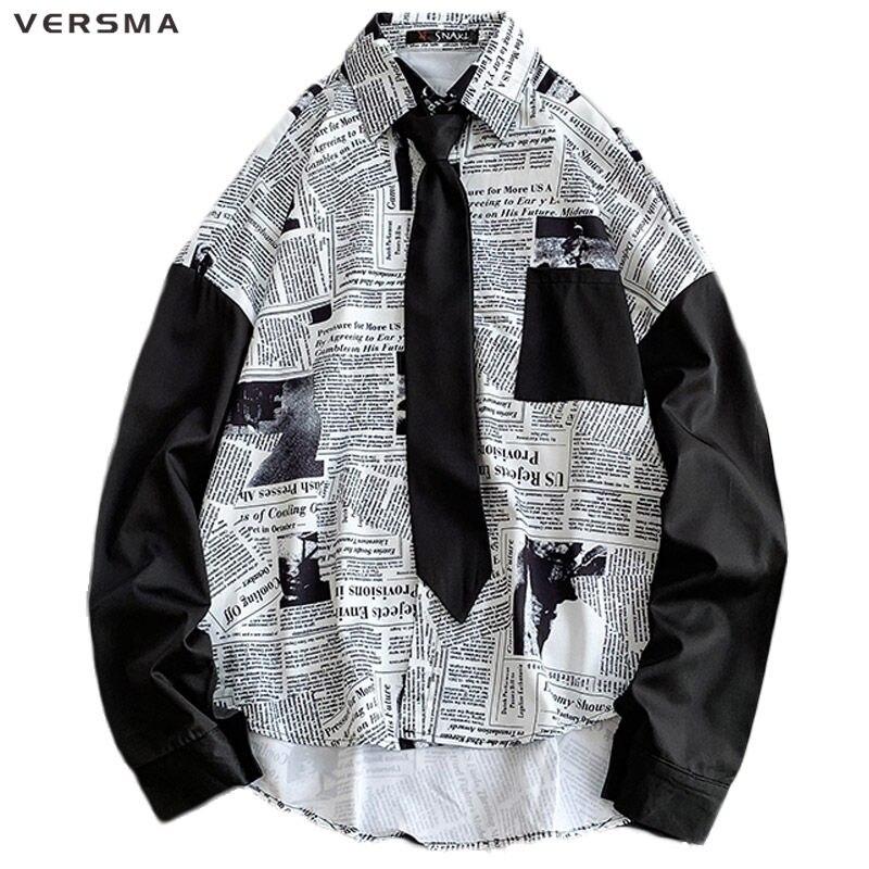 Versma estilo coreano vintage blusa impressão de jornal camisa das mulheres dos homens blusa verão roupas góticas havaianas camisa dropshipping
