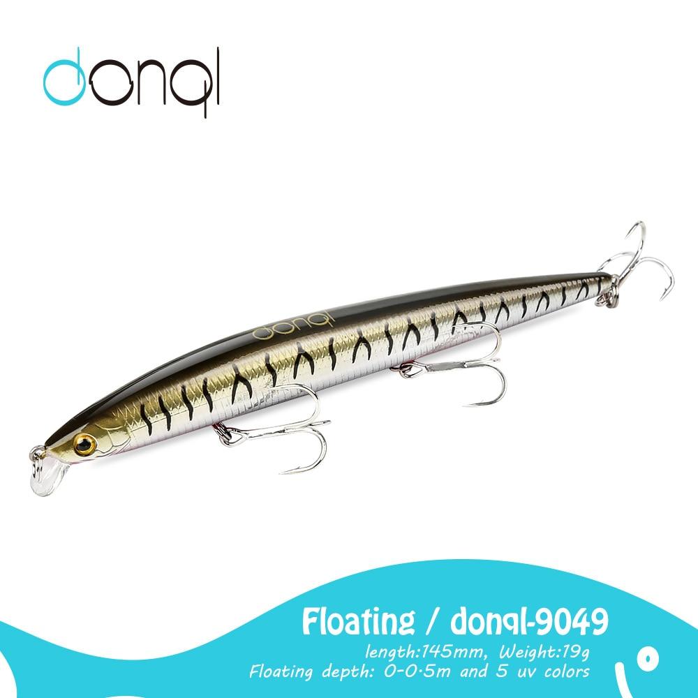 Donql flutuante iscas de pesca 145mm 19g 3d olhos rígidos iscas minnow wobbler crankbait magro abs corpo nadar acessórios de pesca
