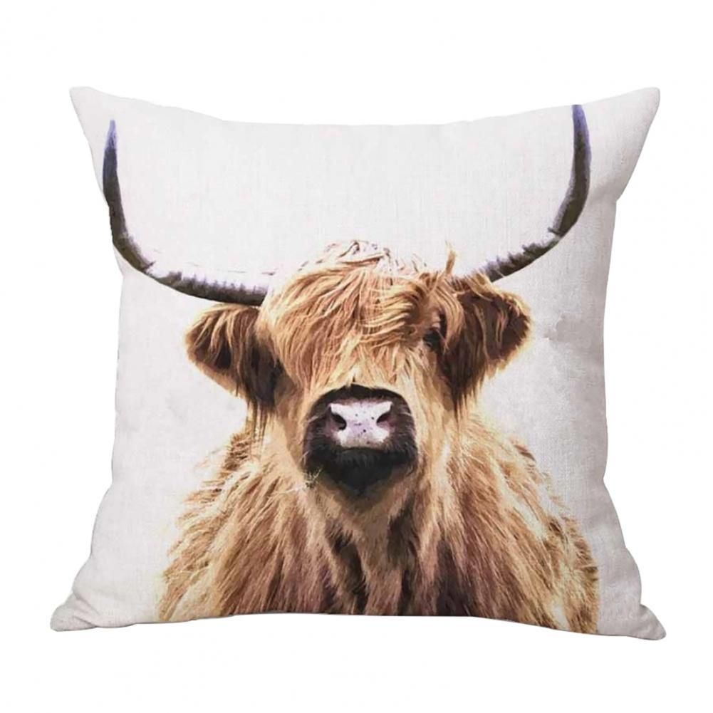 Square Pillow Case Pretty Breathable Square Highland Cow Pattern Cushion Cover Office Sofa Pillowcase Home Decoration stylish seabed landscape fish pattern square shape flax pillowcase without pillow inner