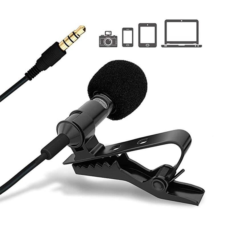 Mini micrófono portátil Lavalier 3,5mm Cable de manos libres micrófono omnidireccional para ordenador portátil teléfono móvil