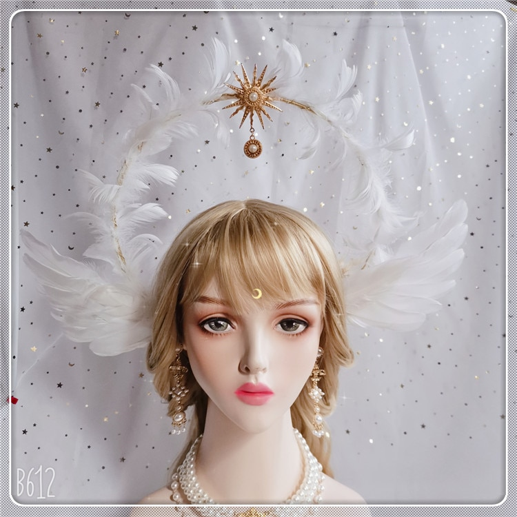 Deusa virgem artesanal kc headwear lolita notre dame auréola sol apollo abertura bandana asas de penas anjo igreja coroa de fadas