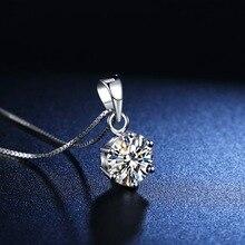 Boeycjr 925 Zilveren 0.5ct/1ct/2ct F Kleur Moissanite Vvs Engagement Elegant Wedding Hanger Ketting Voor Vrouwen Anniversary Gift