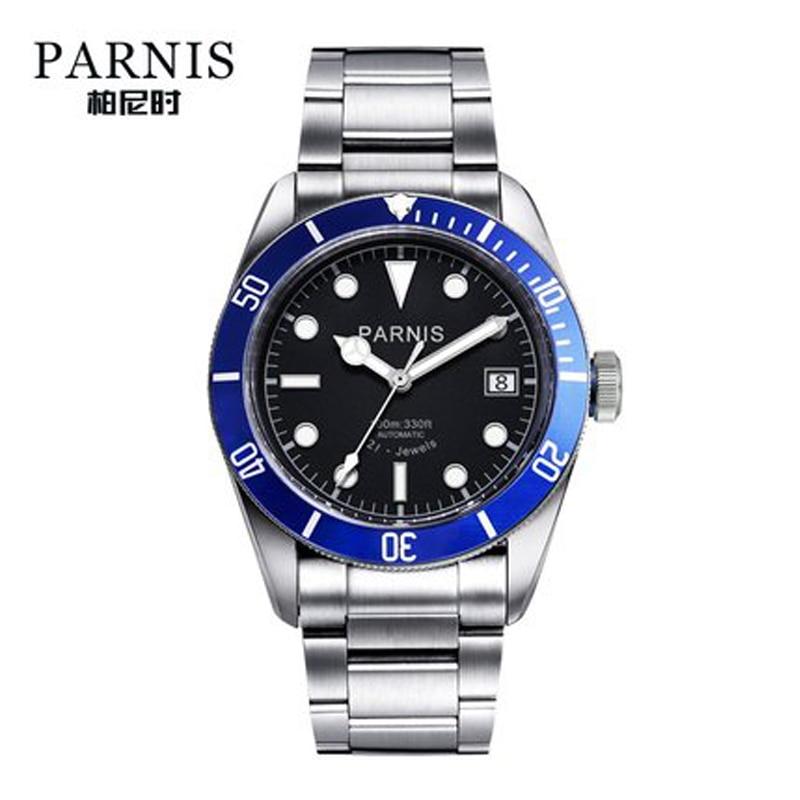 Parnis-ساعة رجالية أوتوماتيكية ، ستانلس ستيل ، مضيئة ، ماركة فاخرة ، كريستال ياقوتي ، هدايا رجالية