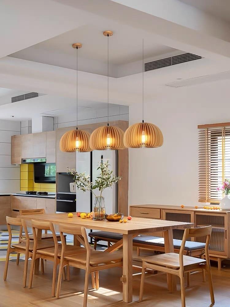 Modern basswood pumpkin ceiling chandelier basswood wood led E27 bracket garden restaurant home deco
