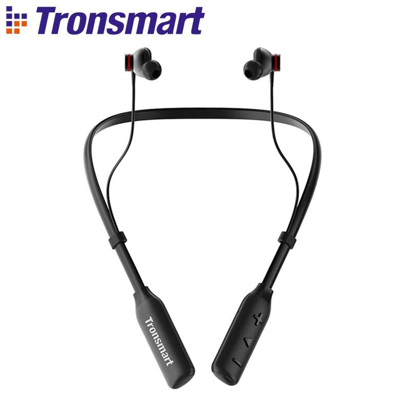 Tronsmart Encore S2 Plus-سماعات رأس مزودة بتقنية البلوتوث 5.0 ، سماعة رأس مزودة بشريحة Qualcomm ، صوت جهير عميق ، مكالمات شفافة ، وقت تشغيل 24 ساعة مع ميكروفون