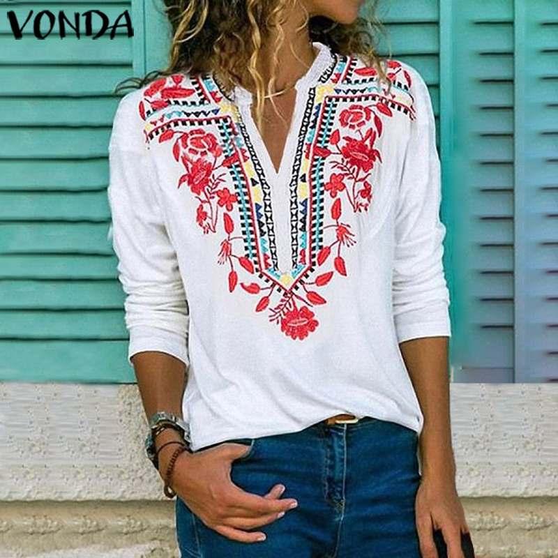 VONDA Bohemian Blouse Sexy V Neck Printed Shirts 2020 Autumn Long Sleeve Blouses Vintage Party Tops Plus Size Spring Blusas 5XL