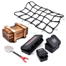 Simulierte Dekoration Koffer Gepäck Net Schaufel Holz Box für TRX4 Defender SCX10 90046 90047 MST Jimny VS4 RC Auto Zubehör